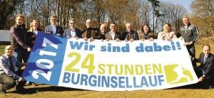 """""""Wir sind dabei!"""": Die Organisatoren und Sponsoren freuen sich auf den 14. Burginsellauf am 17. Juni in Delmenhorst. Mehr als 1000 Sportler werden zu dieser Großveranstaltung in der Parkanlage erwartet. Bild: Niklas Benter / NWZ"""